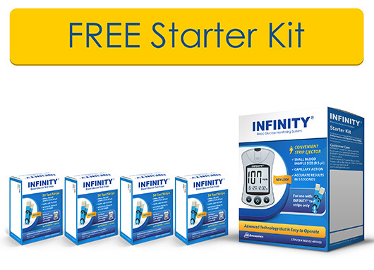 4 BOXES OF INFINITY® TEST STRIPS  1 FREE STARTER KIT