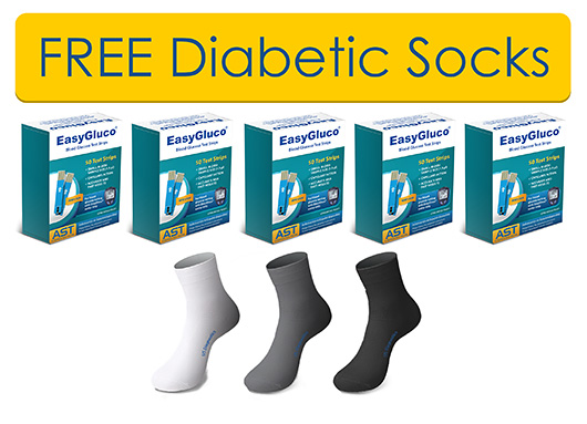 5 BOXES OF EASYGLUCO® STRIPS  FREE 3 PAIRS OF DIABETIC SOCKS
