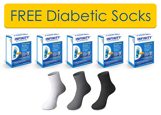 5 BOXES OF INFINITY® TEST STRIPS  FREE 3 PAIRS OF DIABETIC SOCKS